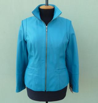 Куртка кожаная женская JAFFAs размер L, голубая