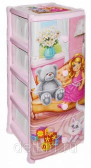 Комод 4 х секционный с декором Кукла