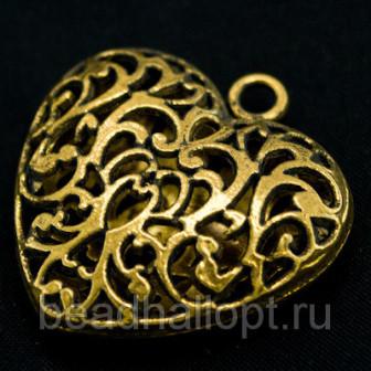 Кулон Сердце, Металл, Цвет Золото, Размер 35х345х11мм, Отверстие 35мм, (УТ000003252)
