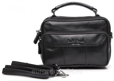 Мужская черная кожаная сумка барсетка