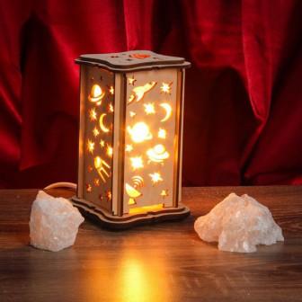 Соляной светильник КОСМОС малый 15 x 10 см, деревянный декор