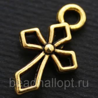Кулон Крест, Металл, Цвет Античное Золото, Размер 165х11х35мм, Отверстие 15мм, (УТ000006818)