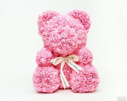 Мишка из роз, 40 см Розовый, 25 см