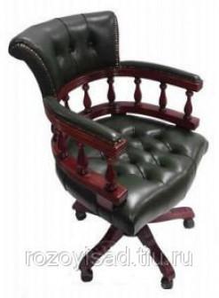 Кресло для кабинета из дерева МК 2404(вишня,зелэкокожа)