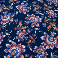 Скидка 50% Вискоза плательная (сказочные цветы на синем) (006821)