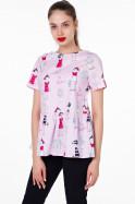 Распродажа! Хлопковая блуза на лето принт «девочки» 950 руб