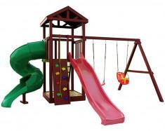 Цена дня! Деревянная детская площадка Панда Фани с винтовой трубой