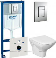 Комплект Унитаз подвесной Cersanit Carina + Система инсталляции 4 в 1 с кнопкой смыва