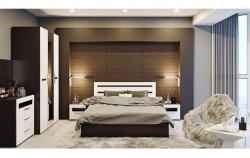 Спальня «Фьюжн» (Белый глянец, Венге Линум), -40%