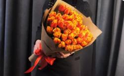 Букет из 51 пионовидного тюльпана, акция