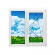 Двухстворчатое окно 1300 на 1400 поворотно-откидное, скидка