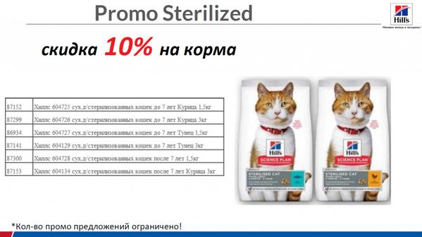 Скидка 10% на корм Hills для стерильных кошек