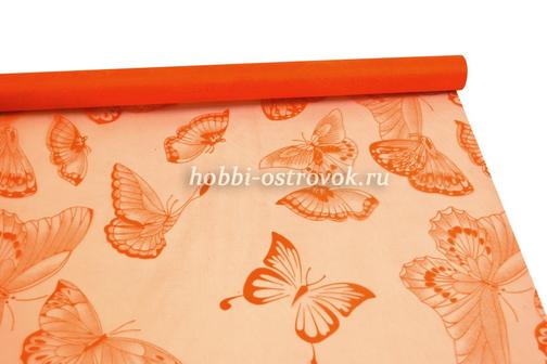 Акция! Органза c рисунком Бабочки 70 см 9 м, оранжевый