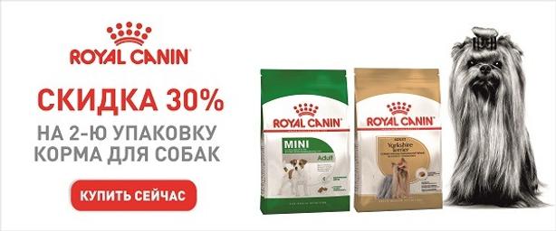 -30% на большие упаковки корма Royal Canin!