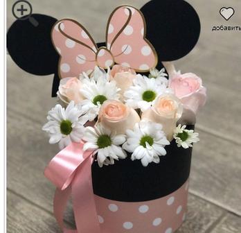 Цветы в коробке Розовый Микки