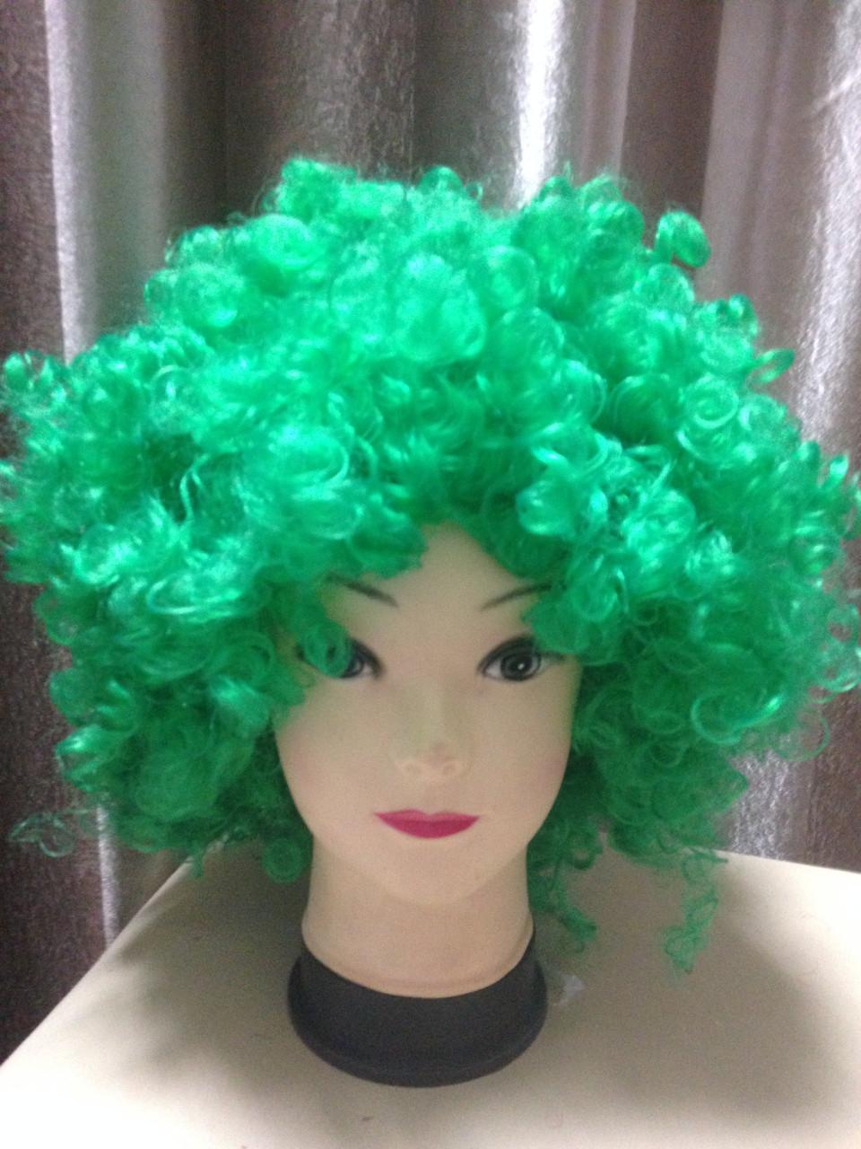 Африканский волос большой, сильно кудрявый, зеленый