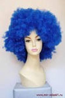 Негретянский волос короткий, сильно кудрявый, синий
