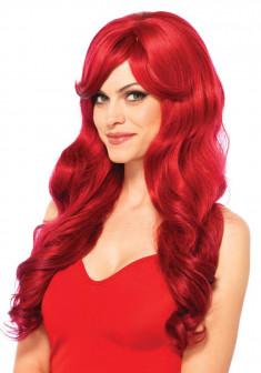 Парик красный, длинные волосы с челкой