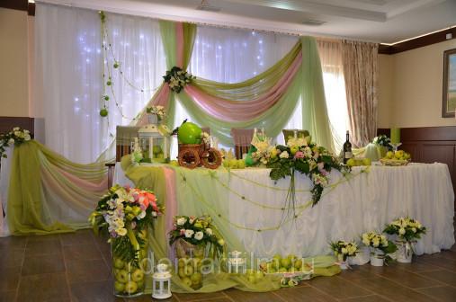 Оформление свадьбы в фисташковых тонах
