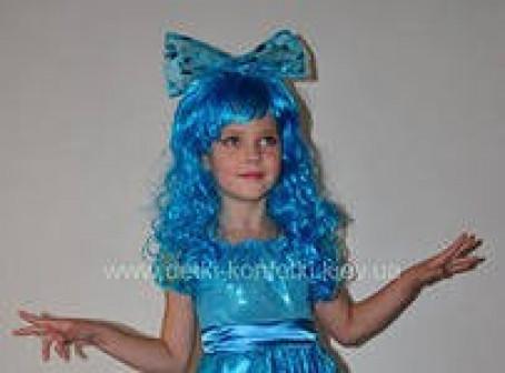 Парик Мальвина, голубой с белым, кудрявый детский